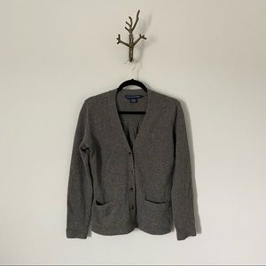 Ralph Lauren Sport Pleated Back Wool Angora Blend V-neck Cardigan Sweater L